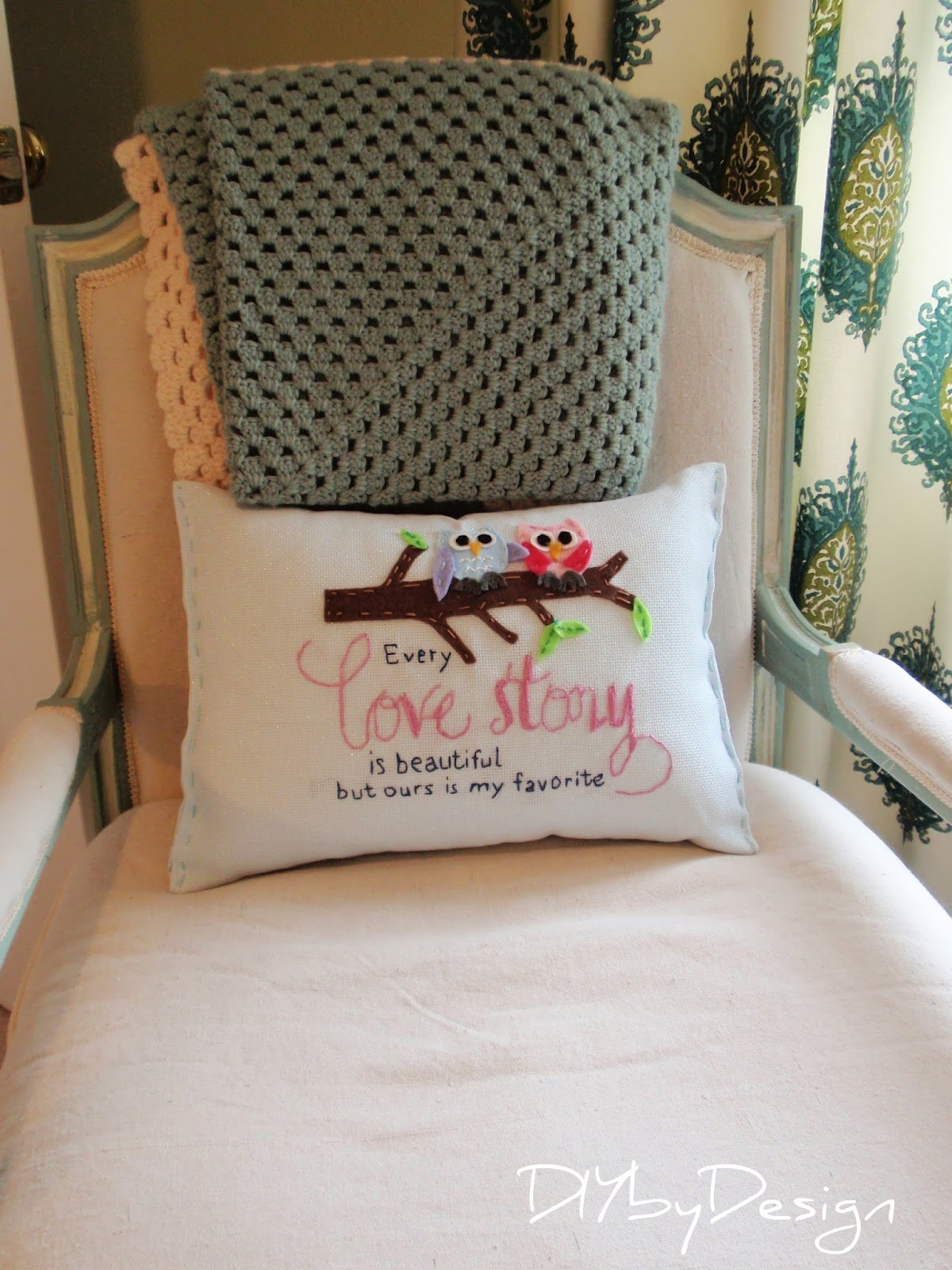 Diy by design embroidered pillow