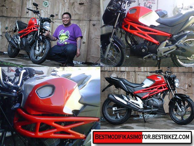 Modifikasi New Megapro ala Ducati Monster menggunakan tangki custom