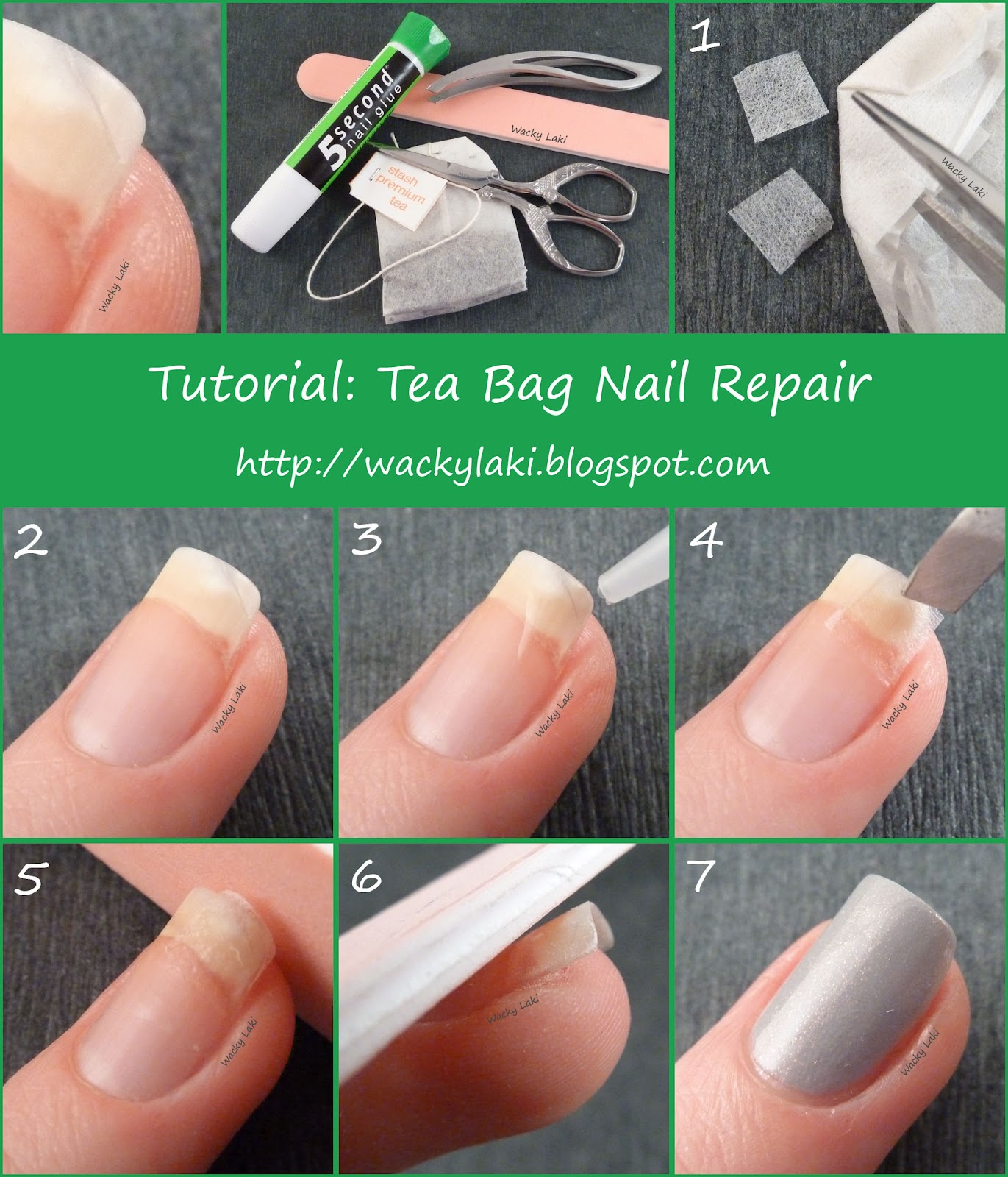 Wacky laki tutorial tuesday tea bag nail repair for How to fix a broken nail with a tea bag