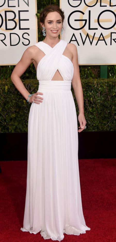 Emily Blunt in a white custom Michael Kors dress at the Golden Globes 2015