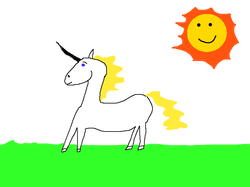 Drawing of a unicorn made with paint. It looks like something I 5-year old would make. There's also a smiling sun.