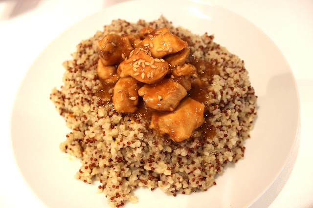 orange sesame chicken bulgur wheat quinoa