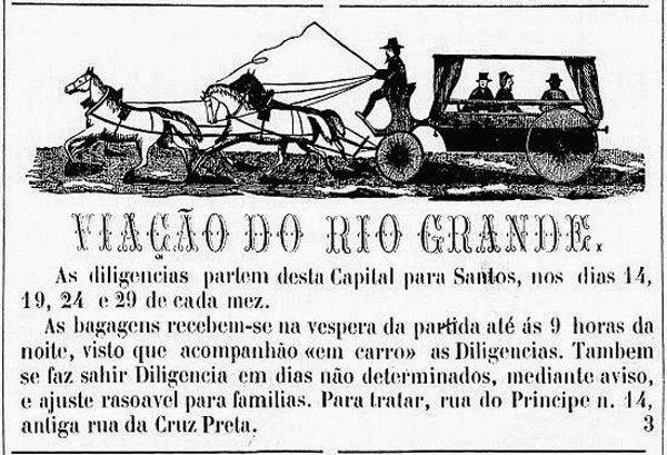 Propaganda da Viação do Rio Grande, em 1808 - uma das primeiras propagandas no Brasil.