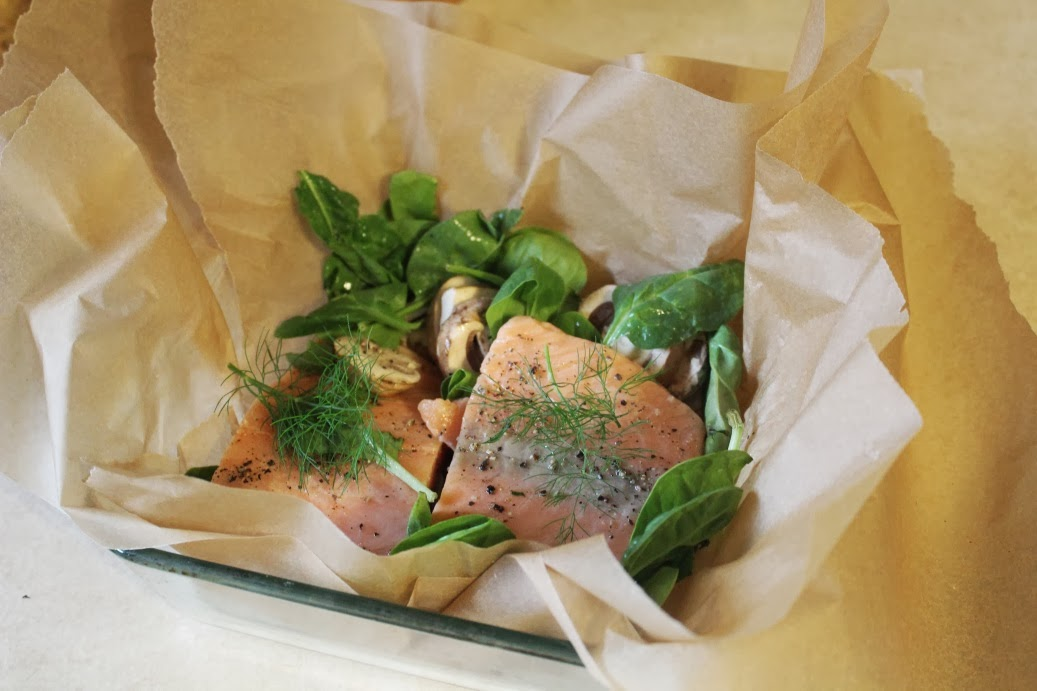 Verdant Bents: Parchment Salmon with Mushrooms and Spinach