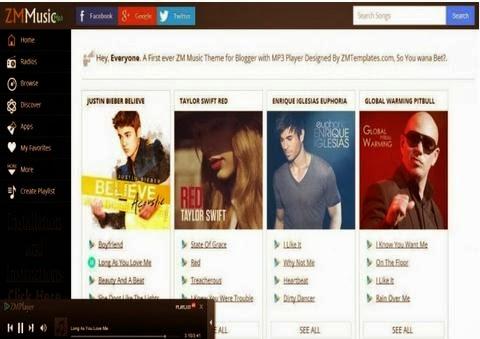 ZM Music blogger responsive premium template free download ~ Blogger ...