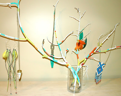 O happy diy sticks and no stones jewelry organizer idea for Painting with nature items