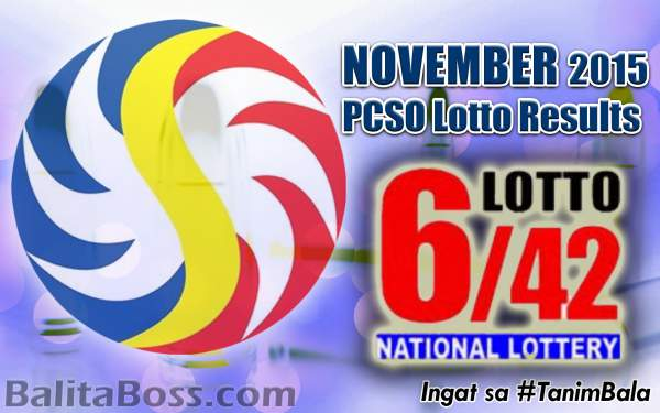 Image: November 2015 Lotto 6/42 PCSO Lotto Results