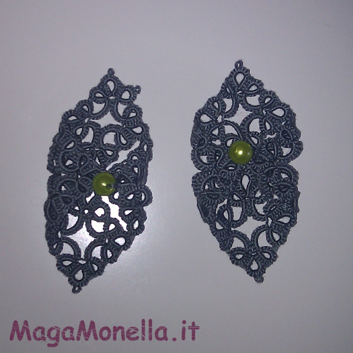 tatting earrings - frivolitè - makouk - orecchini a chiacchierino con perla