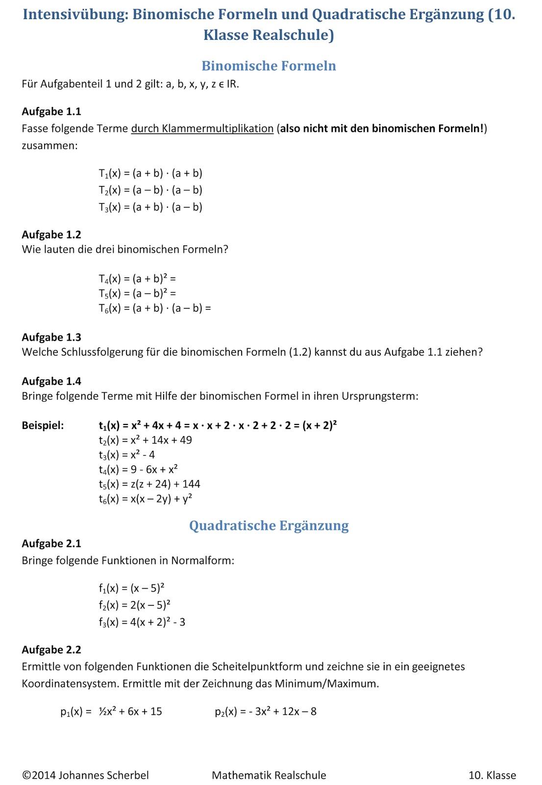 Arbeitsblatt Binomische Formeln : Übungsblätter realschule binomische formeln und