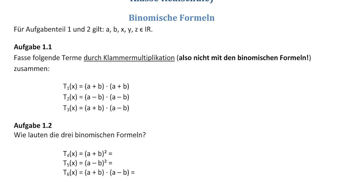Übungsblätter Realschule: Binomische Formeln und Quadratische ...