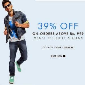 Myntra : Men's Tshirt, Jeans & Shorts upto 50% off + upto 37% off
