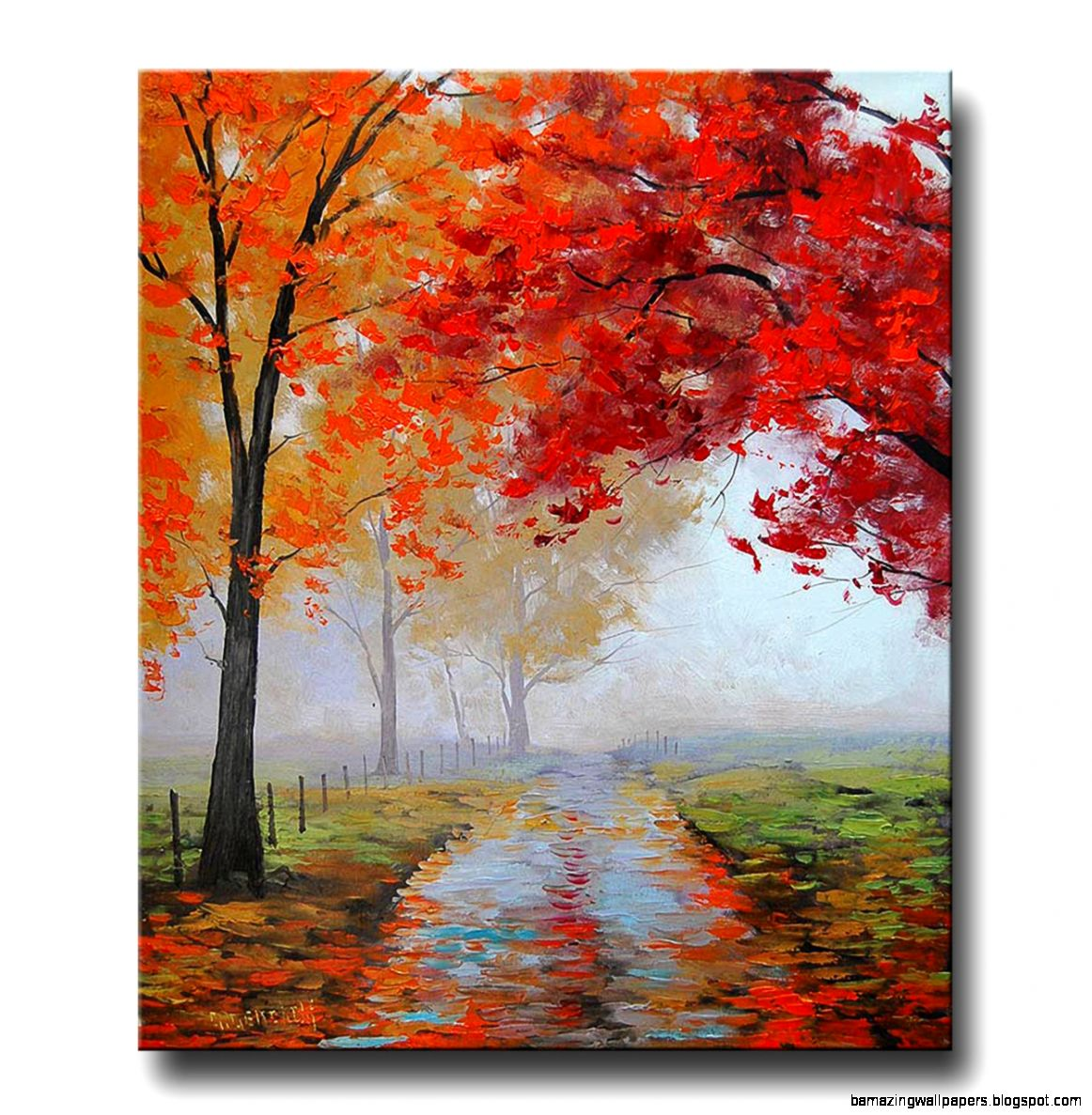 Print on canvas painting Canadian Autumn Landscape Sunny Fall