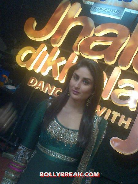 Kareena Kapoor in a greens suit - (3) -  Kareena Kapoor promotes Heroine at Jhalak Dikhla Jaa