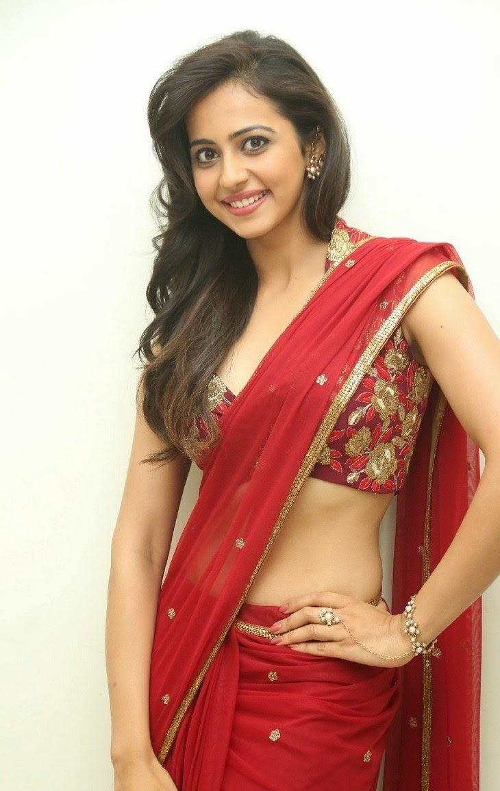 Actress Rakul Preet Singh Hot Photos Red Saree At Tiger Audio Release Function Celebsnext 58 Swapna