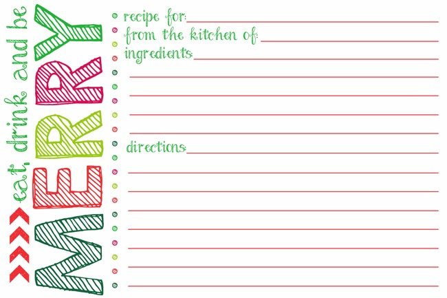 Holiday Card Template Printable Holiday Recipe Card Printable