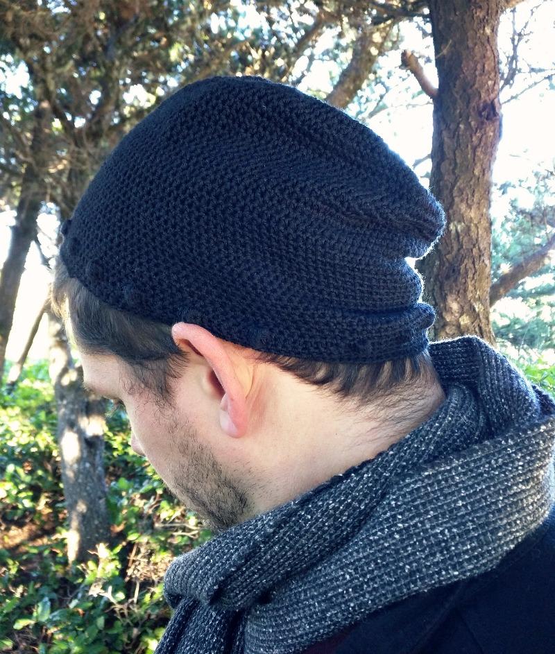 men's slouchy hipster beanie free crochet pattern