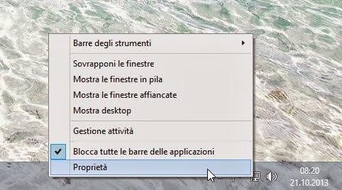Proprietà barra applicazioni - Windows 8.1
