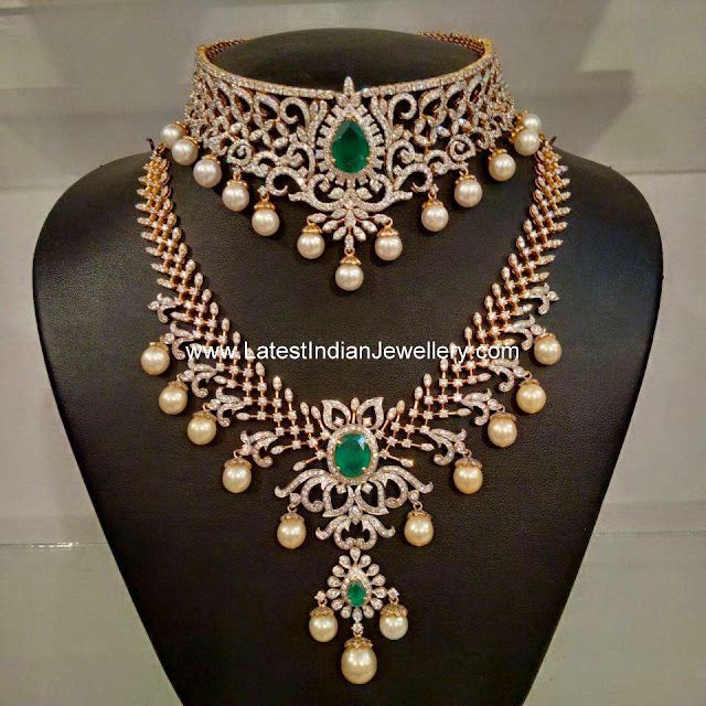 Diamond Emerald Choker Haram Set