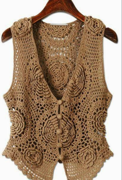 un lindo chaleco con flores 3d crochet y dos agujas