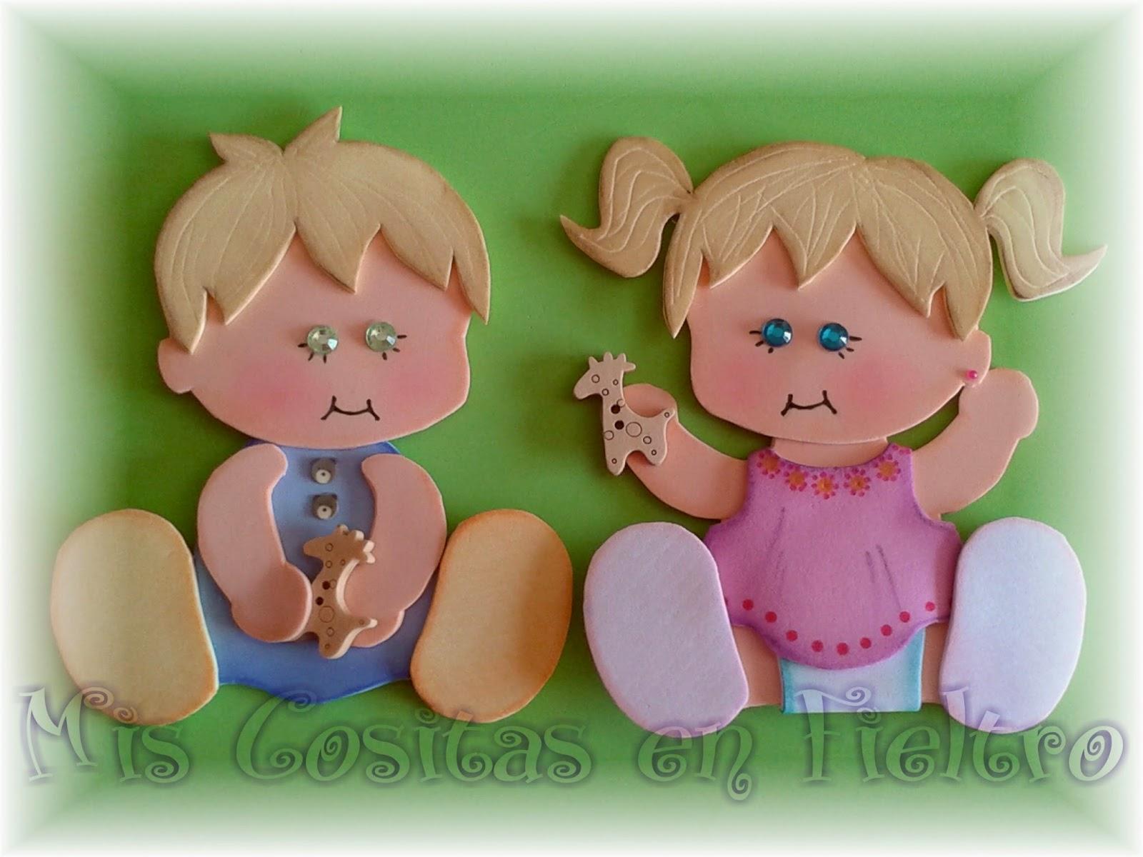 niño, niña, bebé, aplique, goma eva, jugando, foami