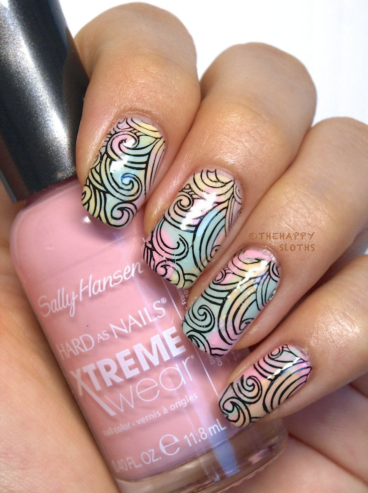 "Pastel Waves Manicure featuring Sally Hansen Xtreme Wear Sea Bloom Collection in ""Pearl Up"", ""Teeny Bikini"", ""Kelp Yourself"", and ""Peach Babe"""