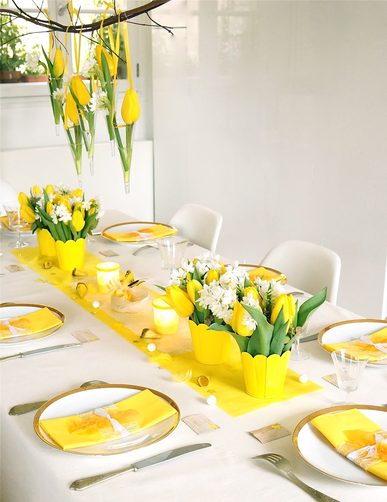 ma boutique d co table d coration de table jaune printemps une table qui r veille les papilles