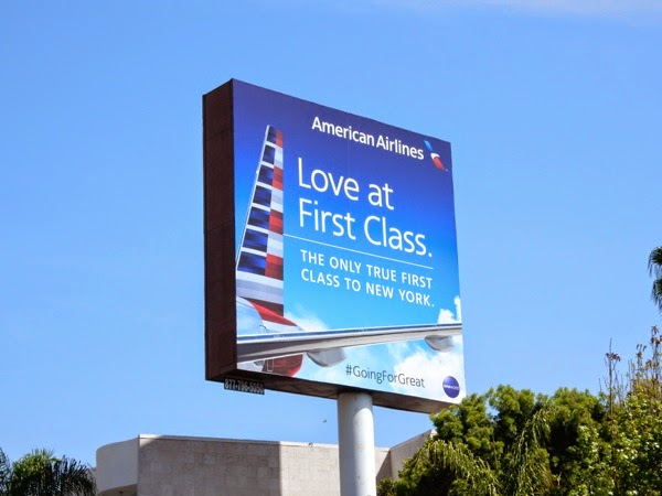 Love at first class American Airlines billboard