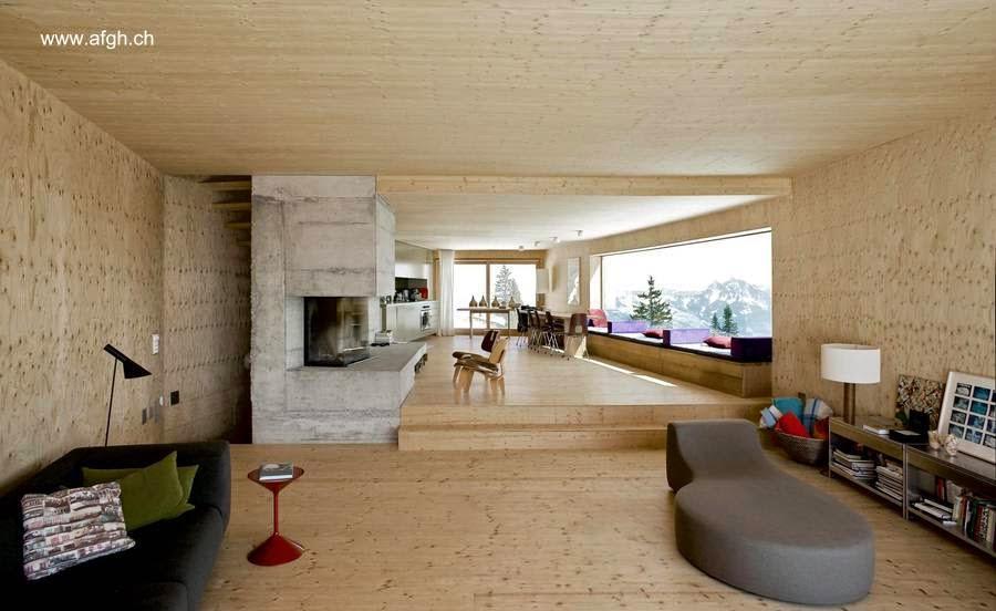 Vista interior de un chalet contemporáneo de madera