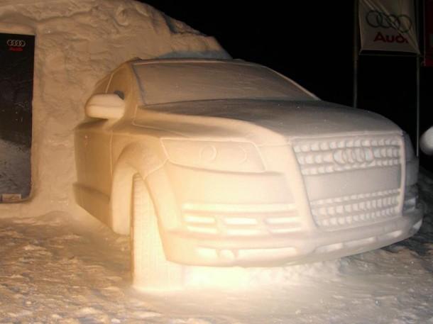 An Audi Q7 Made Of Snow Garage Car