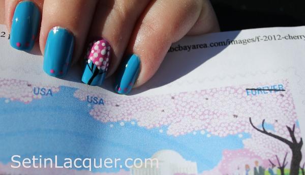 Cherry blossom tree nail art