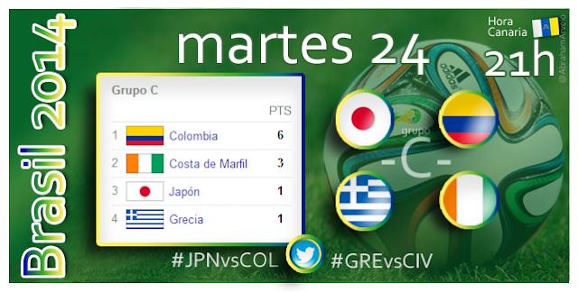 Japón - Colombia (21.00h) Grecia - Costa de Marfil (21.00h) #Mundial2014 #Canarias