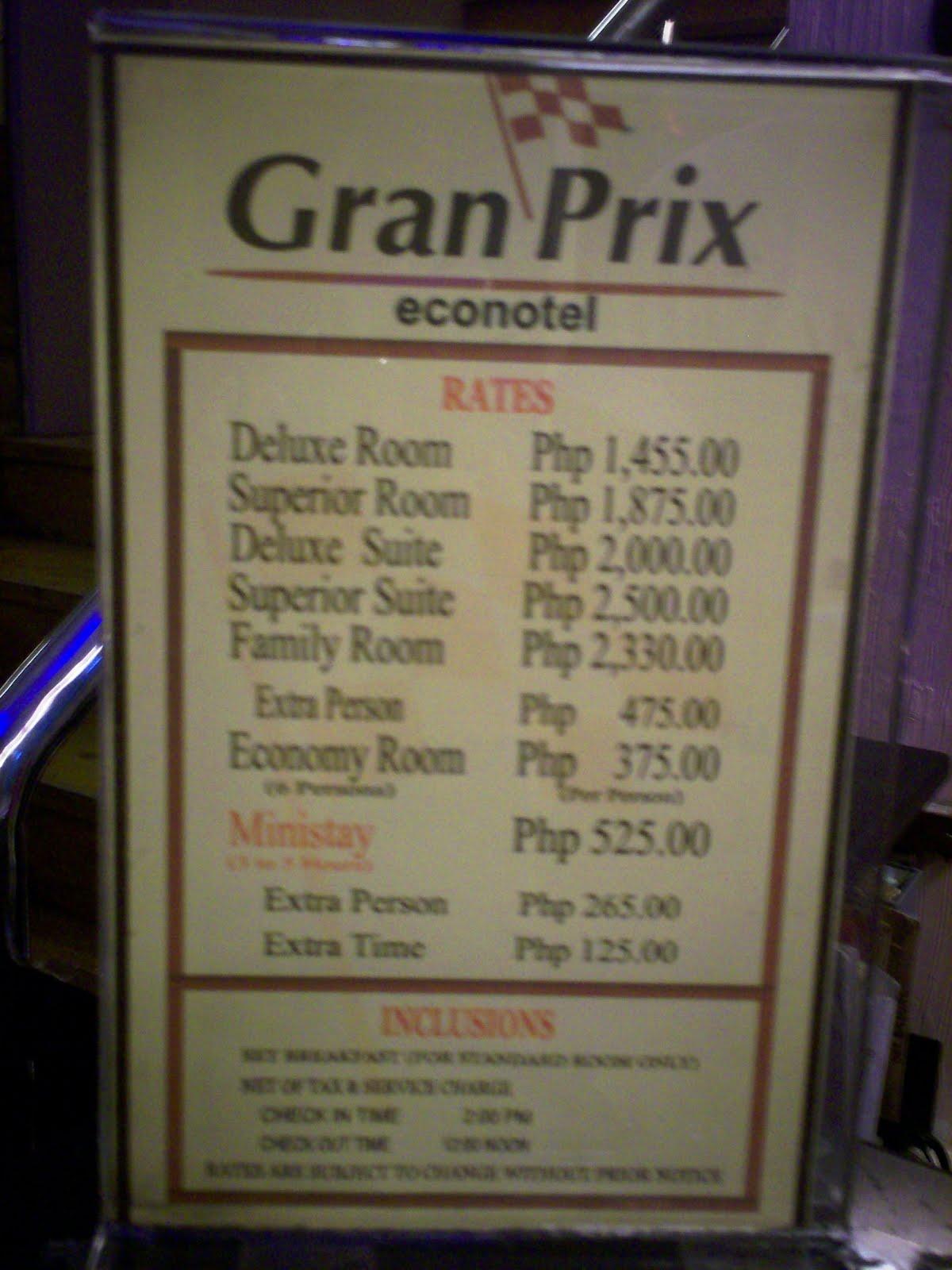 Gran Prix Pasay Room Rates
