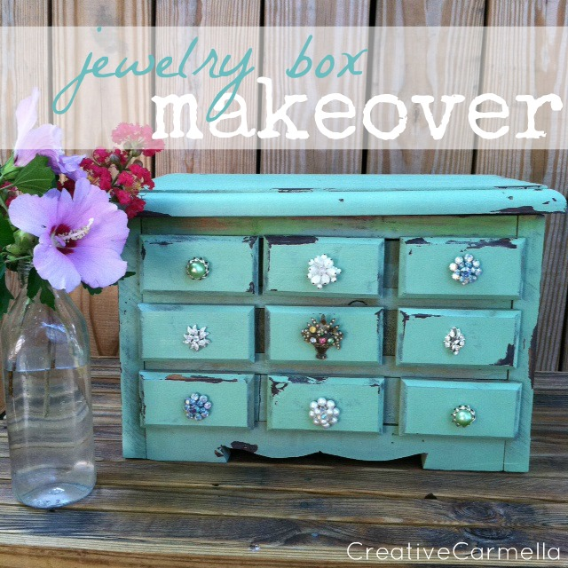 Evey 39 s creations ms creative carmella visits jewelry for Old jewelry box makeover