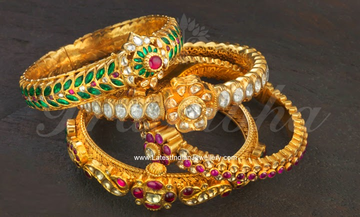 Antique gold kada bangles