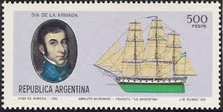 'Estampilla por el Dïa de la Armada Argentina'. Casa de Moneda, 1980. Ilustraciones de J.M.Fouret. Tomada de albumdeestampillas.blogspot.com, del blog del Partido Pirata Argentino