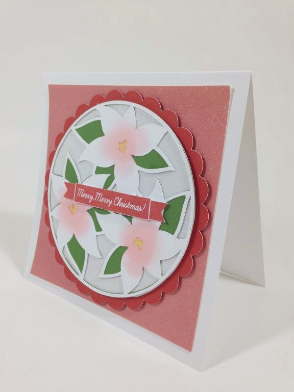 Cricut Holly and Ivy Merry Merry Christmas Poinsettia card sideview