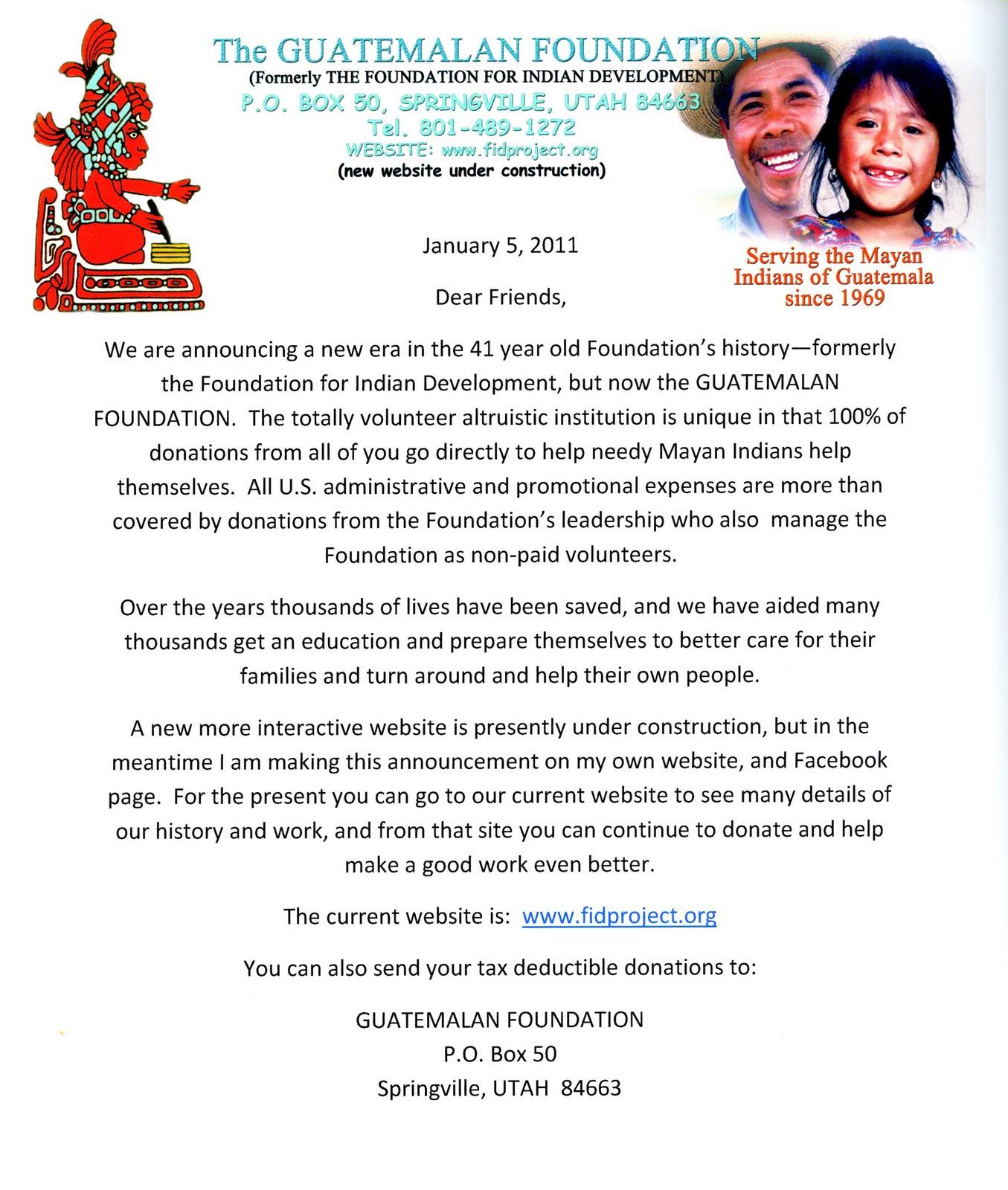 Guatemalan Foundation Update 1