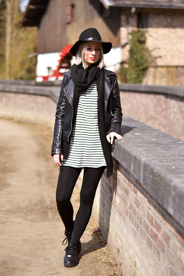 Striped dress, leather jacket zara, biker jacket, fashion blogger, belgium, mode blogger