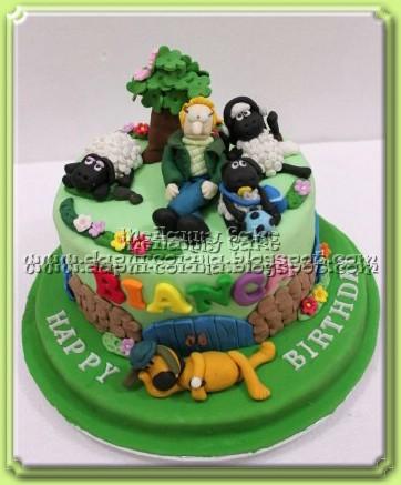 Kue Ulang Tahun Anak - Shaun The Sheep Birthday Cake for Bianca .