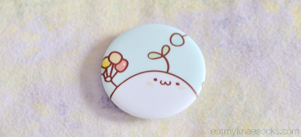 Also in the March Kawaii Box was a cute cartoon-print badge.
