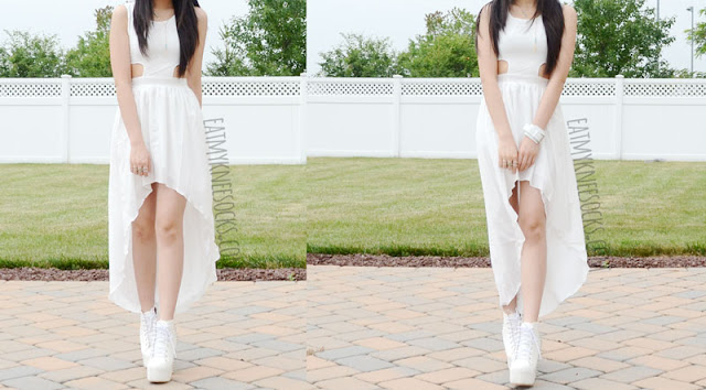 An all-white summer OOTD, with a white asymmetric-hem cutout-detailed dress from WalkTrendy and spiked Jeffrey Campbell Lita platform booties dupes.
