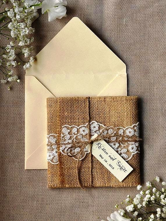 Burlap and lace wedding invitation ideas