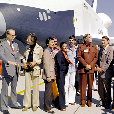 Cast of the Television series Star Trek at the roll-out of Shuttle Enterprise, which name was changed from Constitution by popular request, NASA 1976.