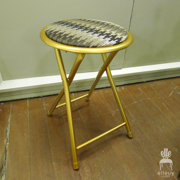 gold stool, gold table, gold chair