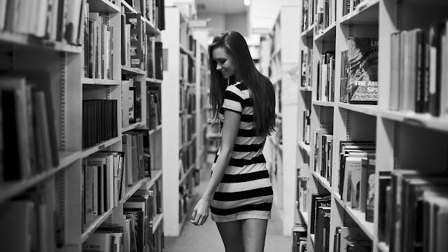 Girl in Library HD Wallpaper