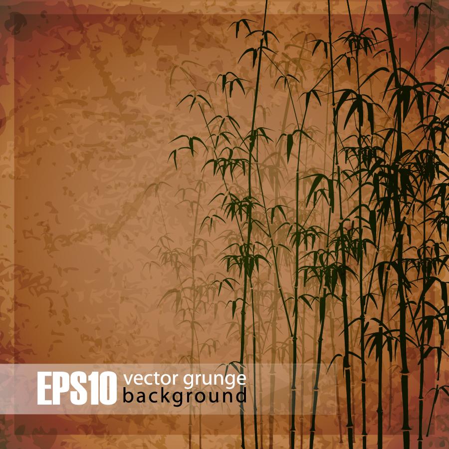 古風な竹林の背景 Retro bamboo forest background イラスト素材