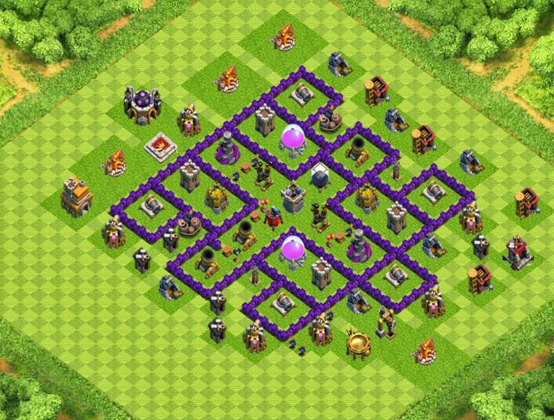 Farm base town hall 7 designs with air sweeper clash of clans