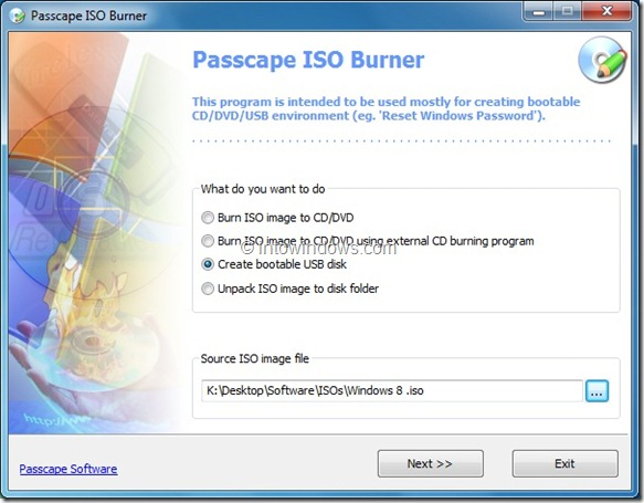 windows 8, windows 7, usb, ISO, Passcape ISO Burner
