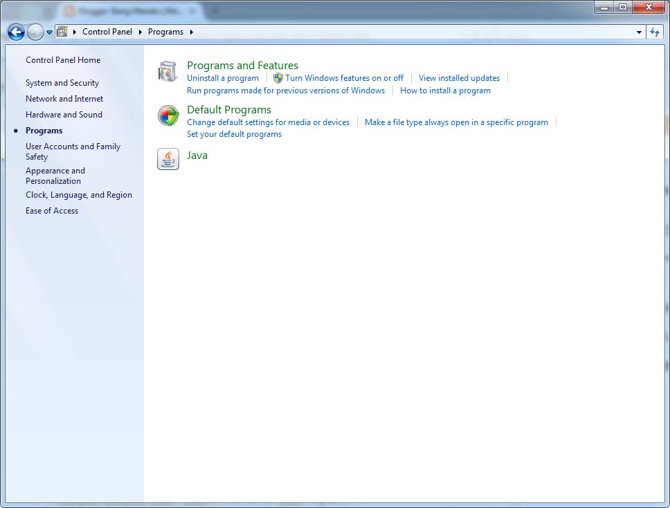 tampilan program features windows 7