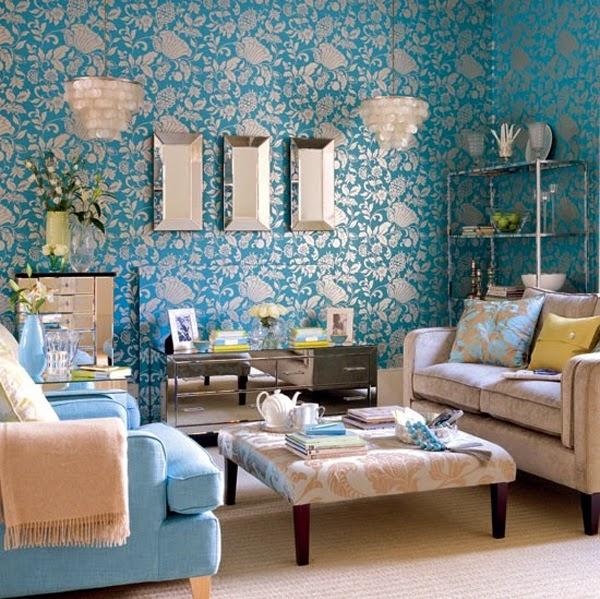 D coration salon avec la combinaison marron et bleu for Salon avec papier peint